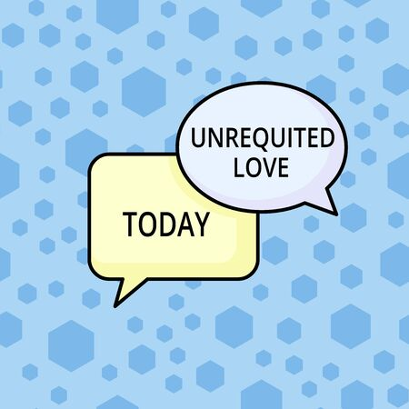Word writing text Unrequited Love. Business photo showcasing not openly reciprocated or understood as such by beloved Pair of Overlapping Blank Speech Bubbles of Oval and Rectangular Shape
