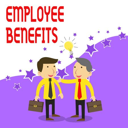 Handwriting text writing Employee Benefits. Conceptual photo Indirect and noncash compensation paid to an employee Two White Businessmen Colleagues with Brief Cases Sharing Idea Solution