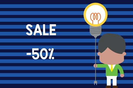 Writing note showing Sale 50 Percent. Business concept for A promo price of an item at 50 percent markdown Standing man tie holding plug socket light bulb Idea Startup