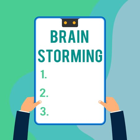Conceptual hand writing showing Brain Storming. Concept meaning Stimulating creative thinking Developing new ideas Discussion Two executive male hands electronic device geometrical background