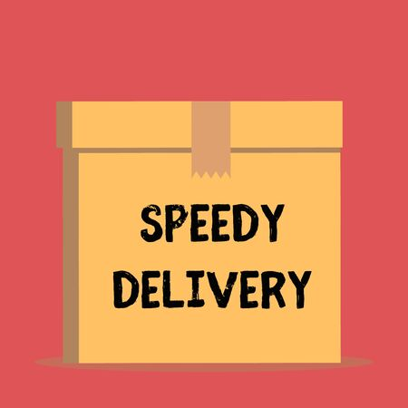 Handwriting text Speedy Delivery. Conceptual photo provide products in fast way or same day shipping overseas Close up front view open brown cardboard sealed box lid. Blank background Reklamní fotografie - 124905583