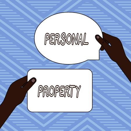 Handwriting text writing Personal Property. Conceptual photo Things that you own and can take it with you Movable Two Blank Figured Tablets Signs Held in Hands One Above Other Text Space