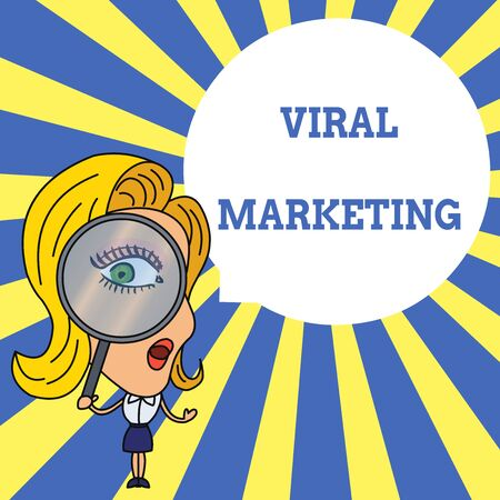 Word writing text Viral Marketing. Business photo showcasing whereby consumer encouraged share information via Internet Woman Looking Trough Magnifying Glass Big Eye Blank Round Speech Bubble