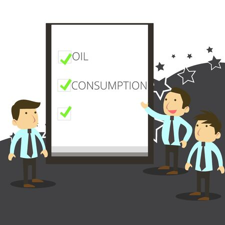 Handwriting text writing Oil Consumption. Conceptual photo This entry is the total oil consumed in barrels per day Business People Colleagues Discuss Missions Presentation Whiteboard Ticks
