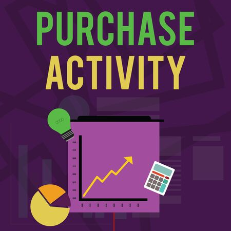 Text sign showing Purchase Activity. Business photo text Acquiring goods to achieve the goals of an organization Investment Icons of Pie and Line Chart with Arrow Going Up, Bulb, Calculator Banco de Imagens