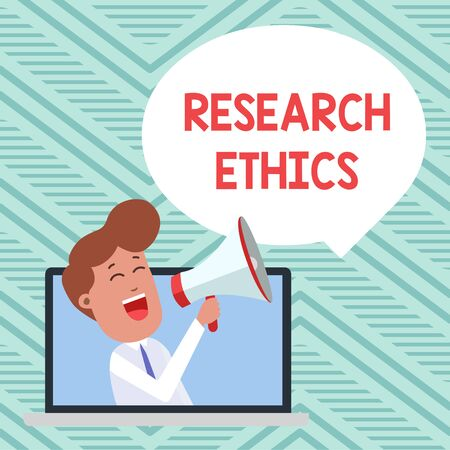 Conceptual hand writing showing Research Ethics. Concept meaning interested in the analysis ofethicalissues that raised Man Speaking Through Laptop into Loudhailer Bubble Announce Stock Photo