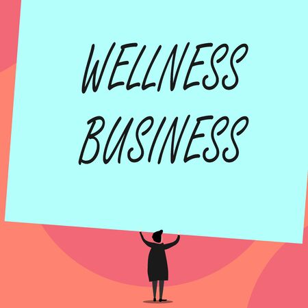 Word writing text Wellness Business. Business photo showcasing Professional venture focusing the health of mind and body Back view standing short hair woman dress hands up holding blank rectangle