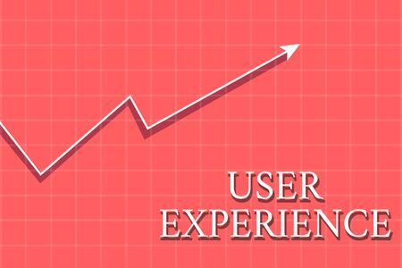 Conceptual hand writing showing User Experience. Concept meaning using website especially in terms how pleasing it is to use Crook White Progress Arrow with Shadow Quadrille Background