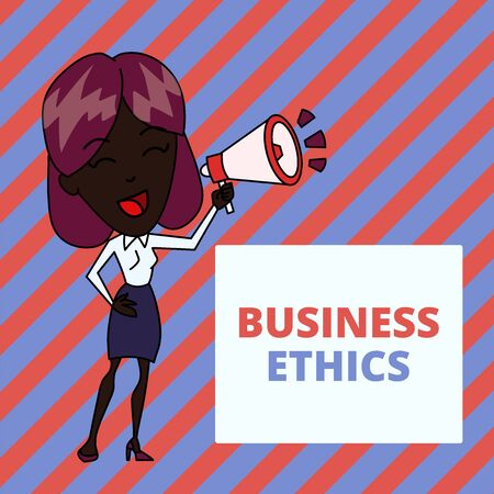 Writing note showing Business Ethics. Business concept for Moral principles that guide the way a business behaves Young Woman Speaking in Blowhorn Colored Backgdrop Text Box