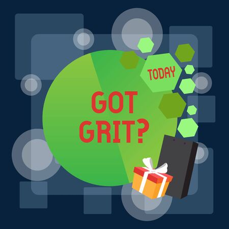 Writing note showing Got Grit Question. Business concept for A hardwork with perseverance towards the desired goal Greeting Card Poster Gift Package Presentation Box Decorated by Bowknot