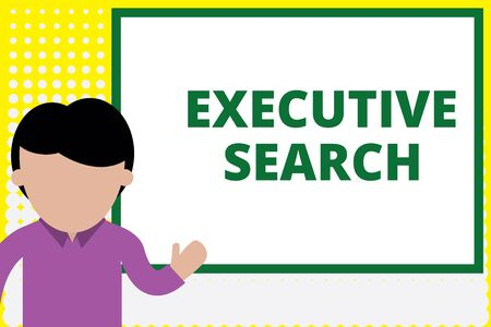Text sign showing Executive Search. Business photo text recruitment service organizations pay to seek candidates Young man standing in front whiteboard pointing to project. photo Art