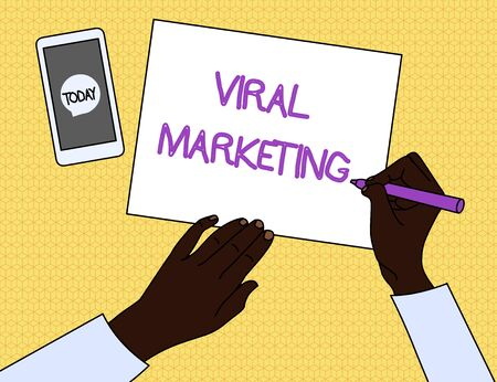 Handwriting text Viral Marketing. Conceptual photo whereby consumer encouraged share information via Internet Top View Man Writing Blank Paper Pen Pencil Marker Smartphone Message Icon