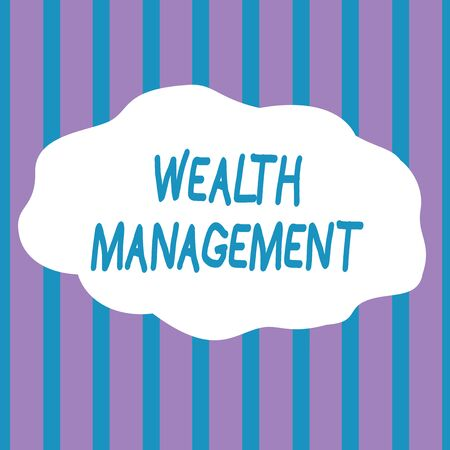 Text sign showing Wealth Management. Business photo showcasing Sustain and grow long term prosperity Financial care Seamless Vertical Stripes Pattern in Blue and Violet Alternate Color Strip Stock Photo - 124905987
