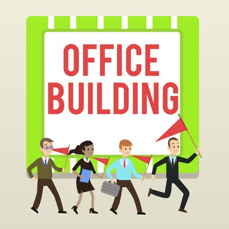 Handwriting text writing Office Building. Conceptual photo Commercial buildings are used for commercial purposes People Crowd Flags Pennants Headed by Leader Running Demonstration Meeting Stock Photo