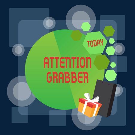 Writing note showing Attention Grabber. Business concept for Deanalysisding notice mainly by being prominent or outlandish Greeting Card Poster Gift Package Presentation Box Decorated by Bowknot