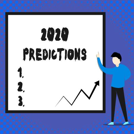 Writing note showing 2020 Predictions. Business concept for list of things you feel that going to happen without proof Man standing pointing up blank rectangle Geometric background