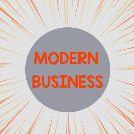 Word writing text Modern Business. Business photo showcasing Introduction to the philosophy of large corporate enterprise Sunburst Explosion Yellow Orange Pastel Rays Beams Depth and Perspective 스톡 콘텐츠