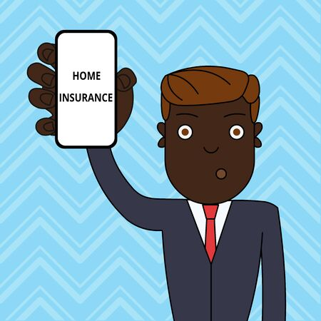 Handwriting text Home Insurance. Conceptual photo Covers looses and damages and on accidents in the house Man Holding Vertically Smartphone Device with Blank Screen for Attention