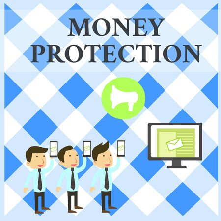 Text sign showing Money Protection. Business photo showcasing protects the rental money tenant pays to landlord SMS Email Marketing Media Audience Attraction Personal Computer Loudspeaker Stock Photo - 124906155
