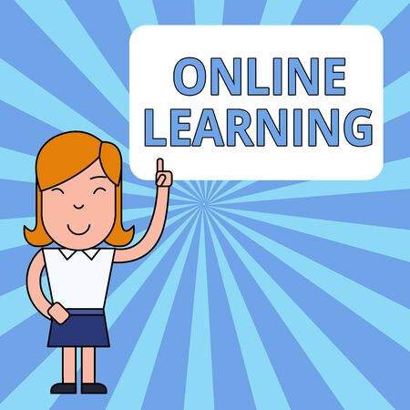 Writing note showing Online Learning. Business concept for Larning with the assistance of the Internet and a computer Woman Standing with Raised Left Index Finger Pointing at Blank Text Box