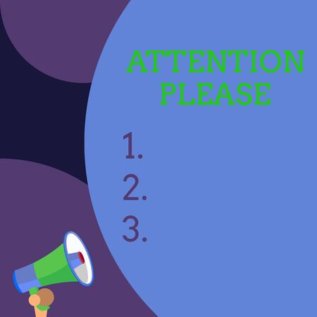 Conceptual hand writing showing Attention Please. Concept meaning Asking showing to focus their mental powers on you Blank huge balloon empty text with small megaphone. Announcement Imagens - 124906273