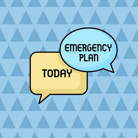 Text sign showing Emergency Plan. Business photo showcasing Procedures for response to major emergencies Be prepared Pair of Overlapping Blank Speech Bubbles of Oval and Rectangular Shape Stock Photo