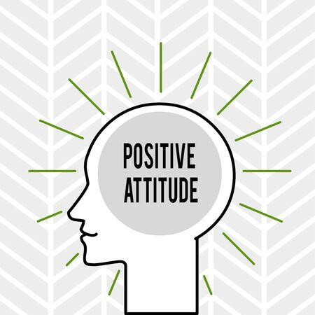 Handwriting text writing Positive Attitude. Conceptual photo Being optimistic in Life Looking for good things Outline Silhouette Human Head Surrounded by Light Rays Blank Text Space