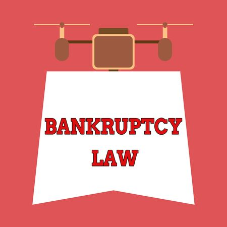 Writing note showing Bankruptcy Law. Business concept for Designed to help creditor in getting the asset of the debtor Drone holding downwards banner. Geometrical abstract background design
