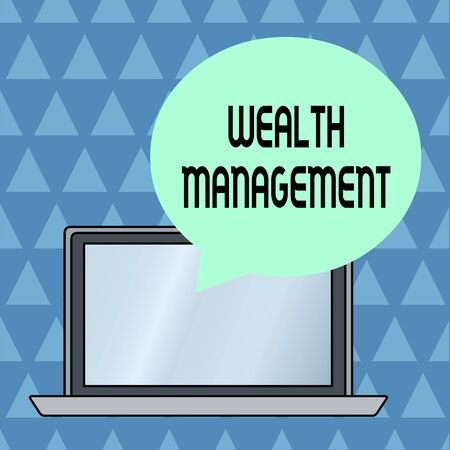 Text sign showing Wealth Management. Business photo showcasing Sustain and grow long term prosperity Financial care Round Shape Empty Speech Bubble Floating Over Open Laptop Colored Backdrop