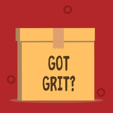 Word writing text Got Grit Question. Business photo showcasing A hardwork with perseverance towards the desired goal Close up front view open brown cardboard sealed box lid. Blank background