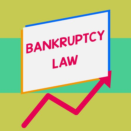 Handwriting text writing Bankruptcy Law. Conceptual photo Designed to help creditor in getting the asset of the debtor One blank rectangle above another arrow zigzag upwards increasing sale 免版税图像
