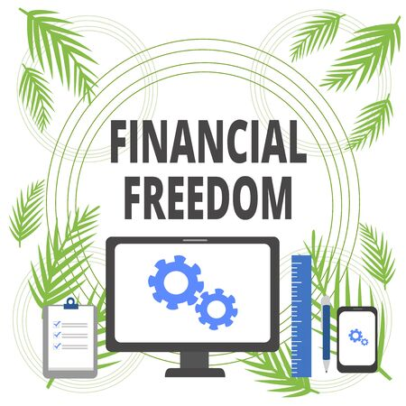 Handwriting text writing Financial Freedom. Conceptual photo Having money Free from worry when it comes to cash flow Business Concept PC Monitor Mobile Device Clipboard Ruler Ballpoint Pen Banco de Imagens