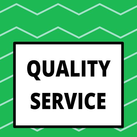 Writing note showing Quality Service. Business concept for how well delivered service conforms to clientexpectations Big square background inside one thick bold black outline frame