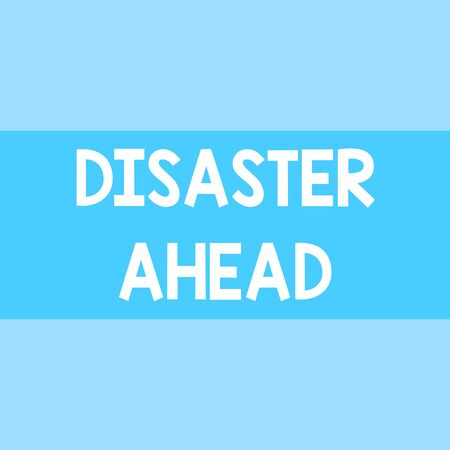 Writing note showing Disaster Ahead. Business concept for Contingency Planning Forecasting a disaster or incident Square rectangle paper sheet loaded with full creation of pattern theme Banco de Imagens - 124940895