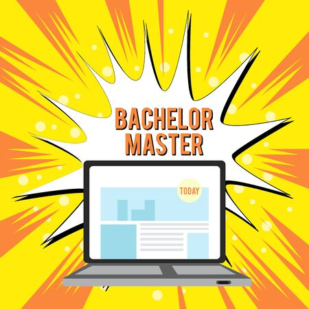 Text sign showing Bachelor Master. Business photo text An advanced degree completed after bachelor s is degree Open Modern Laptop Switched On with Website Homepage on Screen Web Search