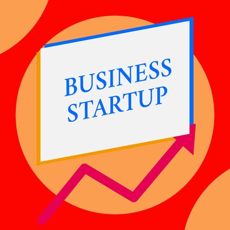Writing note showing Business Startup. Business concept for Putting up new commerce venture Fresh Undertaking One blank rectangle above another arrow zigzag upwards increasing sale Banco de Imagens