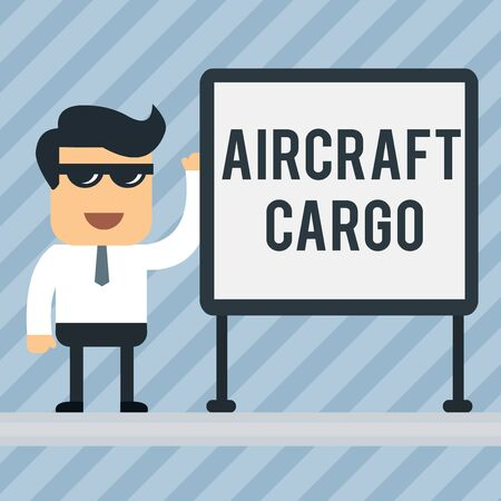 Writing note showing Aircraft Cargo. Business concept for Freight Carrier Airmail Transport goods through airplane Office Worker Sunglass Blank Whiteboard Meeting Presentation