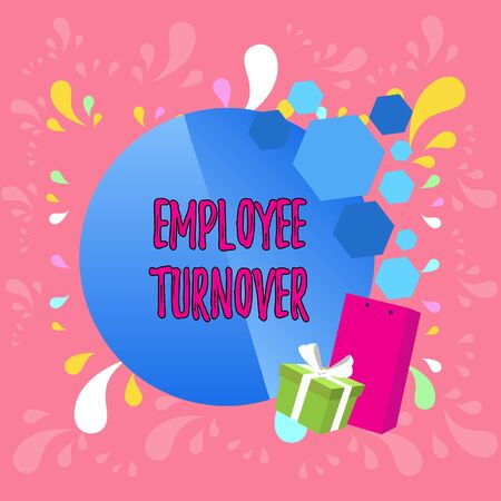 Word writing text Employee Turnover. Business photo showcasing Number or percentage of workers who leave an organization Greeting Card Poster Gift Package Presentation Box Decorated by Bowknot Banco de Imagens
