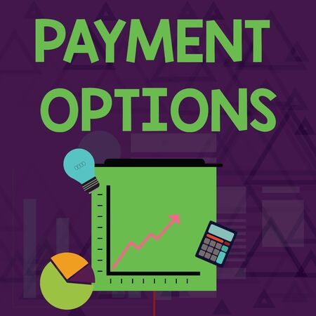Writing note showing Payment Options. Business concept for The way of chosen to compensate the seller of a service Investment Icons of Pie and Line Chart with Arrow Going Up