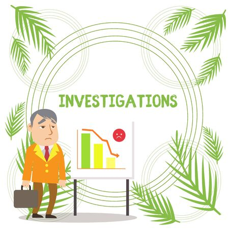 Handwriting text writing Investigations. Conceptual photo The formal action or systematic examination about something Businessman Clerk with Brief Case Standing Whiteboard Declining Bar Chart Stock Photo