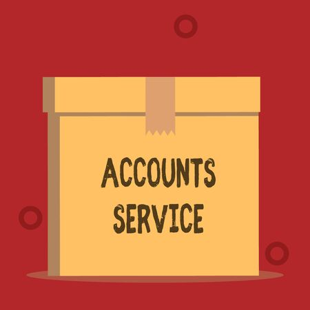 Word writing text Accounts Service. Business photo showcasing accessing list of user profiles and information linked Close up front view open brown cardboard sealed box lid. Blank background