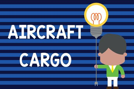 Writing note showing Aircraft Cargo. Business concept for Freight Carrier Airmail Transport goods through airplane Standing man tie holding plug socket light bulb Idea Startup