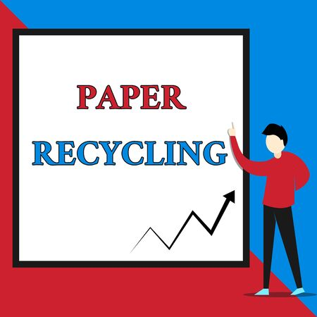 Text sign showing Paper Recycling. Business photo text Using the waste papers in a new way by recycling them View young man standing pointing up blank rectangle Geometric background