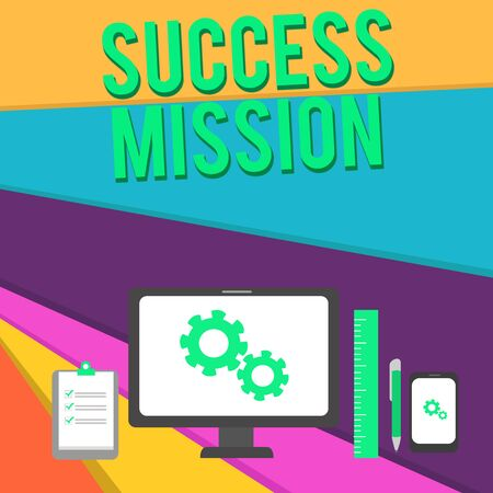 Word writing text Success Mission. Business photo showcasing getting job done in perfect way with no mistakes Task made Business Concept PC Monitor Mobile Device Clipboard Ruler Ballpoint Pen Фото со стока