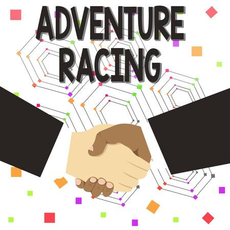 Text sign showing Adventure Racing. Business photo text disciplinary sport involving navigation over unknown course Hand Shake Multiracial Male Business Partners Colleagues Formal Black Suits