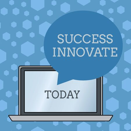 Word writing text Success Innovate. Business photo showcasing make organizations more adaptive to market forces Round Shape Empty Speech Bubble Floating Over Open Laptop Colored Backdrop