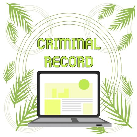 Handwriting text Criminal Record. Conceptual photo profile of a demonstrating criminal history with details Open Modern Laptop Switched On with Website Homepage on Screen Web Search