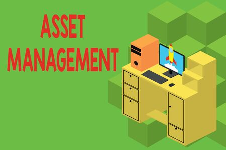 Text sign showing Asset Management. Business photo showcasing systematic process of operating and disposing of assets Working desktop station drawers personal computer launching rocket clouds