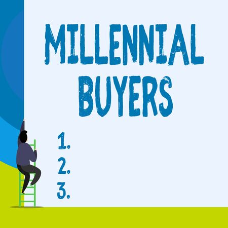 Word writing text Millennial Buyers. Business photo showcasing Type of consumers that are interested in trending products Back view young man climbing up staircase ladder lying big blank rectangle Stock Photo - 124921278