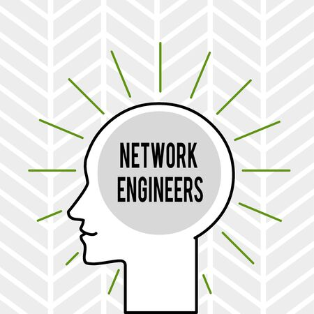 Handwriting text writing Network Engineers. Conceptual photo Technology professional Skilled in computer system Outline Silhouette Human Head Surrounded by Light Rays Blank Text Space